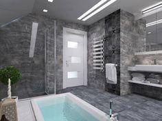 Das Badezimmer bietet auch ein glattes Glas eingeschlossen begehbarer Dusche sowie Gruppen von glänzend weiß Regale unterhalb der schwimmenden Eitelkeit.