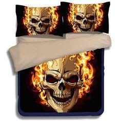 Linen 3D Skull & Flame Bedding 3/4 pieces Set- ★ Super Deal ★