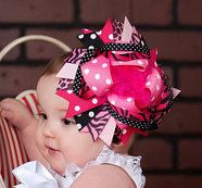 Pink Black OTT Boutique Hair Bow by BananaPickleDesigns on Etsy, $12.00