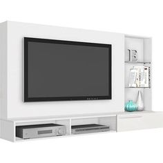 "Foto 1 - Painel para TV até 55"" Escalade Branco - Madetec Tv Plasma, Living Room Tv Unit Designs, Flat Screen, The Unit, Tv On Wall, Kitchen, Ideas, Houses, Blood Plasma"
