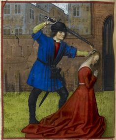Detail of a miniature of Virginius beheading his daughter Virginia, Harley MS 4425, f. 54v. c 1490-c 1500  Title Guillaume de Lorris and Jean de Meun, Roman de la Rose