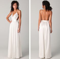 V-neck White Prom Dress Long prom dress Elegant Women dress,Party dress Backless Evening Dress L212