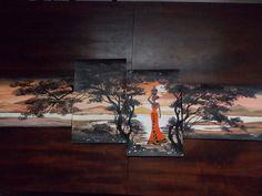 Pintura acrilica em 4 telas 35X50 - dispostas duas horizontais e duas verticais que completam a imagem - By Maria Denize