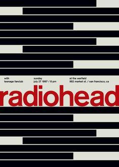Swiss poster Radiohead. Berthold Akzidenz-Grotesk font.