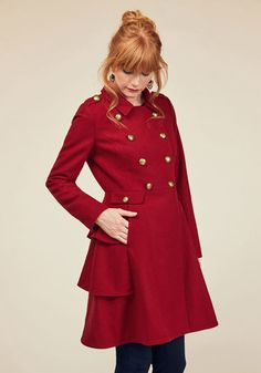 Fame and Flattery Coat in Scarlet by ModCloth - Red, Solid, Buttons, Ruffles, Work, Casual, Fit & Flare, Winter, Exclusives, Variation, Private Label, 3, Long, ModCloth Label, Pockets, Holiday Party, Military, Menswear Inspired, Vintage Inspired, 60s, 70s, Statement, French / Victorian, Steampunk, Fall, Woven, Better, Saturated, Cozy2015