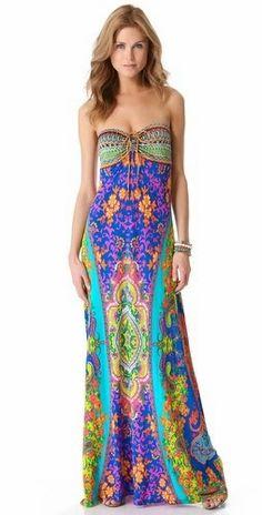 Hermoso vestido largo, como para unas vacaciones