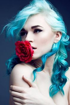 Platinum and blue #hair #bright #dyed #coloured