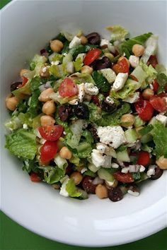 Mediterranean Chopped Salad. Never think to throw this together at home. So simple and yum!