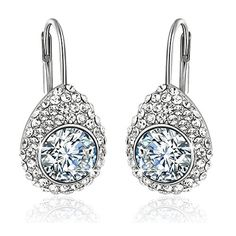 42b01c130 Buy Yellow Chimes Crystals from Swarovski White Princess Cut Designer  Silver Earrings for Women and Girls Online at Low Prices in India | Amazon  Jewellery ...