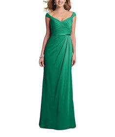 DescriptionAlfred Angelo Style7406Full length bridesmaid dressV neckline with shirred off the shoulder strapsFluted skirt with asymmetric, draped overlay and satin waistbandChiffon