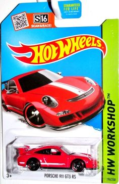 Porsche 911 GT3 RS Hot Wheels 2015 HW WORKSHOP- NIGHT BURNERZ  #196/250 Red #HotWheels #Porsche