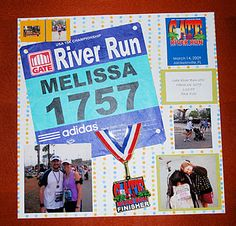 Keep track of those races you run with a Running Scrapbook!  Add pictures, your time and your race number!
