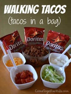 So simple!  All you need are individual bags of chips, taco meat, and fixings. Crush the bag slightly to break the chips into smaller pieces, then add your fixings, grab a fork and enjoy!