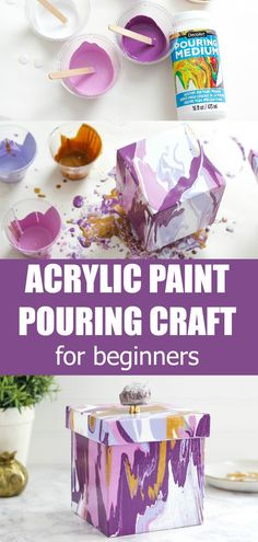 DIY home decor projects : This Acrylic Paint Pouring Craft tutorial is great for beginners who are interested in learning the basics from scratch. Easy step-by-step instructions along with a video to help teach you paint pouring techniques. Flow Painting, Pour Painting, Diy Painting, Painting On Wood, Acrylic Painting For Kids, Acrylic Paint On Wood, Acrylic Pouring Techniques, Acrylic Pouring Art, Picasso And Braque