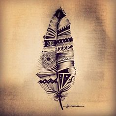 tribal feather tattoo - 70  Awesome Tribal Tattoo Designs  <3 <3
