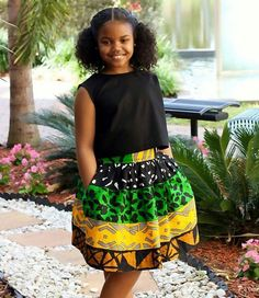 African print style for kids Ankara Styles For Kids, African Dresses For Kids, African Kids, African Print Fashion, Africa Fashion, African Fashion Dresses, African Attire, African Wear, Little Girl Dresses