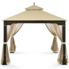 Patio Furniture-Party Gazebo With Canopy-This is Canopy Party Rattan Wicker Metal Patio Gazebo-Color CREAM-Garden Decor-Resin wicker wrapped metal frame and ...  sc 1 st  Pinterest & Replacement Canopy and Netting Allen Roth Dome 10x12 | Favorite ...