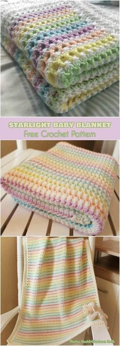 Starlight Baby Blanket Free Crochet Pattern Beautiful spring blanket will be perfect in baby crib or stroller. Adorable colors will go along with any baby outfits. Blanket is approximately x Crochet For Beginners Blanket, Crochet Blanket Patterns, Baby Knitting Patterns, Baby Blanket Crochet, Crochet Stitches, Knit Crochet, Crocheted Baby Blankets, Crochet Afghans, Knitting Baby Blankets