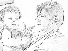 Nana and Bella sketched by Coral Photo draw Photo Draw, Draw On Photos, Coral, Collage, Art, Art Background, Collages, Kunst, Collage Art