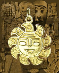 10K GOLD Aztec Sun Mayan Mexican Pendant Charm Jewelry