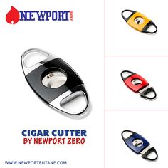 QUALITY ATTRACTS QUALITY The new Cigar Cutters by Newport Zero.  Available in Red, Yellow, Dark Blue, & Black
