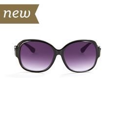 Black Madeline Sunglasses.  100% UVA/UVB protection.  Includes case and cleaning cloth.  Holds 2 18mm Original Snaps.