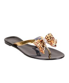 Look what I found on #zulily! Gold Leopard Bow Jelly Sandal #zulilyfinds