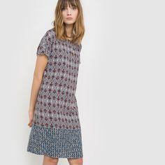 Prosta sukienka z nadrukiem i krókim rękawem Soft Grey | La Redoute