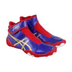 Asics Omniflex Attack V2.0 Mens Blue Synthetic Athletic Strap Wrestling  Shoes