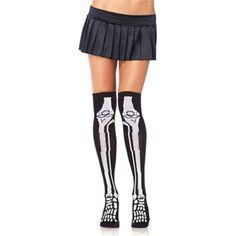 Skeletten print kniesokken zwart/wit - Horror Halloween Zombie - One size - Leg…
