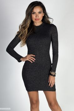 76b163e19c5 Long Sleeve Mock Neck Charcoal Gray Lightweight Bodycon Sweater Dress Cute Casual  Dresses