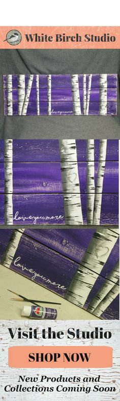This long, hand painted piece would be a great, personal touch to your Spring and Summer decor at home or at your cottage. Would be great as Headboard art or sitting on a mantel. Dimensions are 46 inches wide x 17 inches high   love you more, Purple artwork, white birch trees, love you more, carved heart tree, pallet wall art, shabby aged, headboard art, mantel art