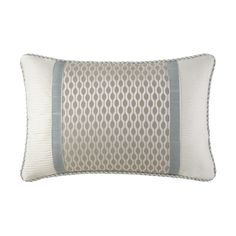 From the Waterford bedding collection, this Jonet decorative pillow features a cream ogee surrounded by a subtle, beige wave textured pattern and delicate aqua felt trimming. The perfect finishing touch to any bed. Size: 12 x Material: Polyester. Aqua Bedding, Cream Bedding, Linen Bedding, Bed Linen, White Pillows, Throw Pillows, Waterford Bedding, Pillows Online, Trim Color