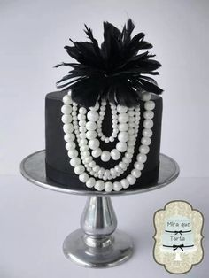 ~ Elegant Single Tiered Black and White Cake ~Breakfast at Tiffanys Shower Cake