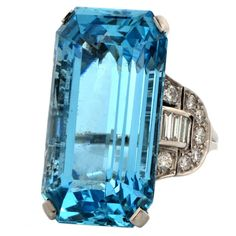 Art Deco GIA Certified Aquamarine Diamond Platinum Cocktail Ring with a prominent GIA certified aquamarine, baguette and round-faceted diamonds is crafted in solid platinum Art Deco Ring, Art Deco Jewelry, Jewelry Rings, Fine Jewelry, Jewelry Design, Jewlery, Bling Bling, Antique Jewelry, Vintage Jewelry