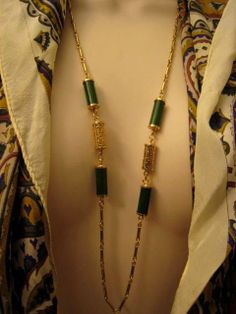 Long Vintage Asian Symbol Gold Green Faux Jade Station Necklace by Sarah Coventry