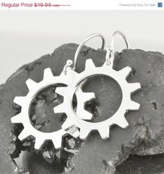 Mothers Day Sale Silver Gear Earrings  by TheJewelryGirlsPlace