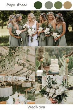 sage green and pink wedding color ideas for spring - green leaves and candle wedding decoration, dusty rose and sage green wedding bouquets, sage green bridesmaid dresses, buttercream wedding cake with pink flowers Sage Bridesmaid Dresses, Wedding Bridesmaids, Fall Wedding Colors, Wedding Color Schemes, Green Wedding Themes, October Wedding Colors, Rustic Wedding Theme, Wedding Colour Palettes, Emerald Wedding Colors