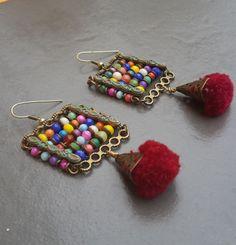 Boucles d'oreille bohème chic éthnique *Boulier exotique* : Boucles d'oreille par echappee-perles