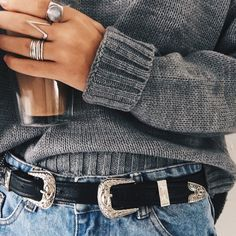 - Every Boho babe needs the Kendall Double Buckle Belt wherever they go! Tan or Black vegan leather belt has two engraved, gunmetal buckles at either end. Belt measures long with four hole adjustm Looks Street Style, Looks Style, Style Me, Look Fashion, Womens Fashion, Fashion Trends, 90s Fashion, Street Fashion, High Fashion