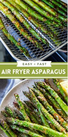 Looking to switch up your usual roasted vegetable side dish? Try this 10 minute Air Fryer Asparagus! It's totally crispy and delicious. #airfryer #asparagus #sidedish #easysidedish #vegetablesidedish #friedvegetables #airfryerrecipes Air Fry Recipes, Air Fryer Recipes Easy, Side Dish Recipes, Cooking Recipes, Ww Recipes, Quick Recipes, Dinner Recipes, Easy Vegetable Side Dishes