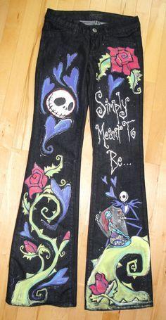 Resultado de imagen para pantalones mezclilla pintados a mano