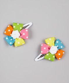 Loving this Rainbow Polka-Dot Flower Snap Clip Set on #zulily! #zulilyfinds