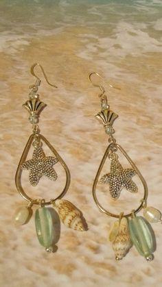 Starfish dangle beach charm sea glass earrings by 57cooncat, $15.00