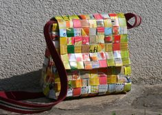 This is a purse made from juice cartons...I really want to try this!