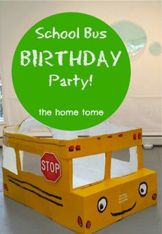 We had so much fun putting together this School Bus 3rd Birthday Party   School Bus Cake   Cardboard School Bus   Pin the Wheels on the School Bus