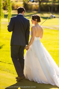 Bride and groom out on the golf course for some personalized wedding photos :)  Check out the full photography session here! http://tailoredfitphotography.com/wedding-photography/vernon-golf-country-club/
