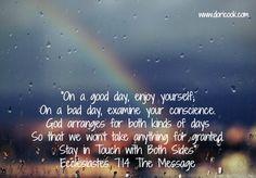Ecclesiastes 7:14 The Message