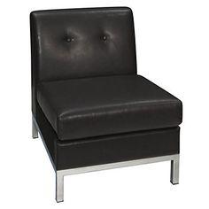 Wall Street Faux Leather Armless Guest Chair // Modern Armless Chair
