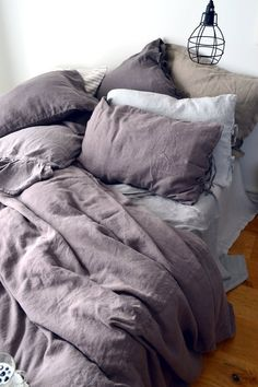 Standard, Euro and King sizes : Blueberry Milk Heavy Weight Linen Pillow case. Standard, Euro and King sizes : Grey Blue Linen Duvet Cover Linen Duvet, Duvet Bedding, Linen Pillows, Bed Linens, Comforter Sets, King Comforter, Dark Bedding, Purple And Grey Bedding, Brown Bedding